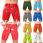 100% Latex Rubber Sexy Tight Handsome Cool Briefs Shorts With Zipper Size S-XXL