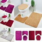 3pcs Bathroom Set Rug Contour Mat Toilet Lid Cover Plain Solid Color Bathmats