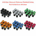10/20/30pcs Motorcycle Windscreen Windshield Fairing Well Nut Bolt Screw M5x16mm $15.99 USD on eBay