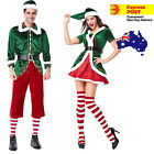 Mens Womens Adult Green Elf Couple Christmas Fancy Dress Party Costume Cosplay