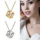 Fashion Crystal Necklace Chain Rhinestone Silver Plated Cube Pendant Jewelry