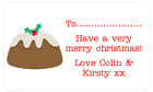 PERSONALISED PARTY BAG STICKERS CHRISTMAS XMAS PRESENT TAG LABEL XMAS PUDDING