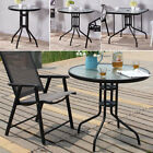 Patio Outdoor Garden Coffee Table Dining Table Tempered Glass Top Umbrella Stand