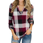 Women Autumn Plaid V Neck Long Sleeve Casual Loose Pullover Jumper Blouse TShirt <br/> ❤️US Seller❤️60 Days Free Return❤️Free Shipping❤️S-XL