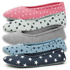 Womens Slip On Ballet Ballerina Slippers Socks House Shoes Ladies Girls Size 4-8