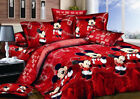 3D Disney Red Mickey Mouse Cotton Bedding Set Duvet Cover Quilt Cover Pillowcase image