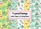 Tropical Flamingo printed Wafer Paper Icing Sheets Edible Image Palm Leaves Cake