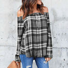Womens Long Sleeve Plaid Shirts Blouse Casual Off-Shoulder Loose Tops T-Shirt