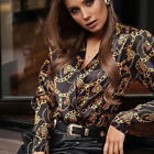 Women Clubwear Printed V Neck Long Sleeve Tops Casual T-Shirt Blouse Plus Size
