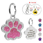 Glitter Rhinestones Personalised Dog Tags Cat Puppy ID Collar Tags & Bell Pink