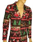 Mens BLAZER Suit Coat SANTA CLAUS Tree Ugly Christmas Sweater Party S 34 36 NEW