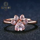 Bear's Paw Natural Rose Quartz 14K Rose Gold Plated 925 Sterling Silver Ring