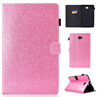 Smart Wake/Sleep PU Leather Stand Case Bling Glitter Cover For Samsung Tabelt