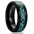 Black Celtic Dragon Glow High Quality Tungsten Carbide Wedding Ring Comfort Fit