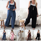 Ladies Casual Dungarees Wide Leg Cotton Linen Playsuit Jumpsuit Pants Overalls