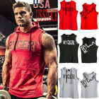 Mens Muscle Hoodie Top Bodybuilding Gym Workout Sleeveless Pullover Vest T Shirt image