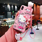 Set Cute 3D Hello kitty Doll Strap Holder Case Cover for iPhone XS Max X 8 7 6