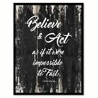Believe & act as if it were impossible to fail Motivational Quote Saying Canvas