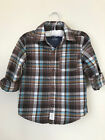 Carters 3T Button Down Shirt Toddler Boy Clothes Brown Blue