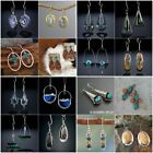 Women Vintage Turquoise Gemstone Earrings Jewelry Ear Stud Boho Dangle Earrings