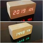 Modern Wooden Qi Wireless Charger For iPhone X with Alarm Clock Temperature LED