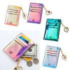 Leather ID Credit Card Holder Front Pocket Wallet Coin Purse with Keychain