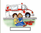 Paramedic Female Cartoon Character Personalized Matted Print 11 x 14