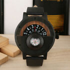 Creative Compass Design Wood Watch Analog Quartz Leather Band Watches for Men image