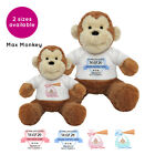 Personalised Name Max Monkey Teddy Toy Christening New Baby Boy Girl Gift Gifts