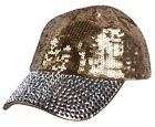 Womens Sequin Fashion Baseball Cap w/ Full Stoned Bill