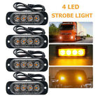 4 Led Car Vehicle Warning Flash Strobe Flashing Light Lamp Amber 12v Blue White
