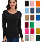 Basic Long Sleeve Solid Top Womens Plain Cotton T-Shirt Stretch Tight Round Neck