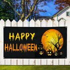 Vinyl Banner Sign Happy Halloween Pumpkins Scary Marketing Advertising Purple $33.99 USD on eBay
