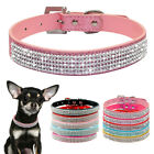 Full Rhinestones Dog Collar Small Medium Dogs Chihuahua Leather Collar XS S M L