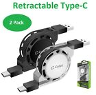 Cellet Type-C Retractable Charge Sync Cable for Galaxy Note 10 S20+ Pixel 4- 2PK
