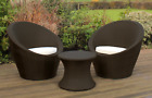 Kingfisher Rattan Effect 3pc Table And 2 Chairs Bistro Egg Set Garden Furniture