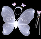 Child Girl Fairy Princess Party Costume Set of Butterfly Wing Wand Headband LX