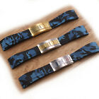 20mm Blue Camo Rubber Watch Strap Band With Clasp For Oysterflex Deepsea