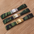 20mm Green Camo Rubber Watch Strap Band With Clasp For Oysterflex Deepsea