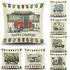 Cotton Happy Camper Soft Cushion Cover Sofa Waist Throw Pillow Case Home Decor