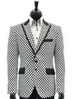 Mens Angelino Black White Checker Pattern Fun Trendy Dress Casual Party Blazer