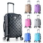 """22"""" Carry on Travel Luggage Lightweight Rolling Spinner Hard Shell Black New"""