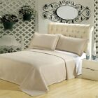Luxury Beige Checkered Quilted Wrinkle Free Microfiber Coverlet AND Shams image