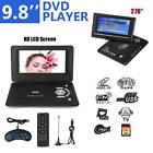 "9.8"" Portable HD DVD CD Player 270°Swivel Screen Car TV FM Radio+Gamepad+Charger"