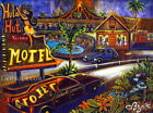 Hula Hut Motel Lodging Hawaiian Collectible Painting Kitsch CBjork Art PRINT
