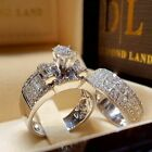 2pcs/set White Sapphire 925 Silver Ring Women Wedding Bridal Jewelry New Sz 5-11 image