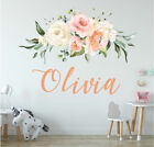 Personalised Name Nursery Wall Sticker Rose Flower Baby Home Decor Girls Decal