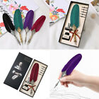 Quill Feather Fountain Pen Set Ink Pen Black Purple Red Purple Green 8 In 1 Set