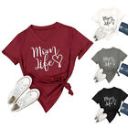 UK Women Mom Life Letter Print V Neck Baggy T-shirts Short Sleeve Blouse Top