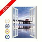 Manhattan Beach California Sunset View Picture French Window Black Framed Print